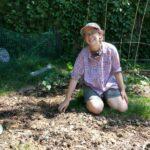 Mira Ellis in the garden.