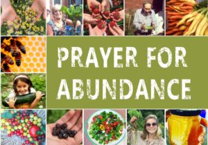 """[IMAGE DESCRIPTION: Several small photos framing a green rectangle with text that reads """"PRAYER FOR ABUNDANCE"""". The photos show garden produce, honeybees, honey, and smiling humans of various ages holding vegetables and greens.]"""