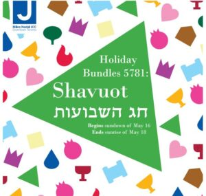 """[IMAGE DESCRIPTION: Square with different coloured graphics depicting Jewish holiday symbols including a pomegranate, a Torah scroll, a crown, a drop of water, and a wine glass. In the Centre is a large green triangle with text that reads """"Holiday Bundles 5781: Shavuot Chag Hashavuot (written in Hebrew) begins sundown of May 16 Ends sundown of May 18"""". The top left corner of the image has the MNJCC logo.]"""